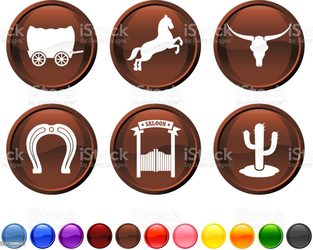 Wild West 2 royalty free vector icon set royalty-free stock vector art