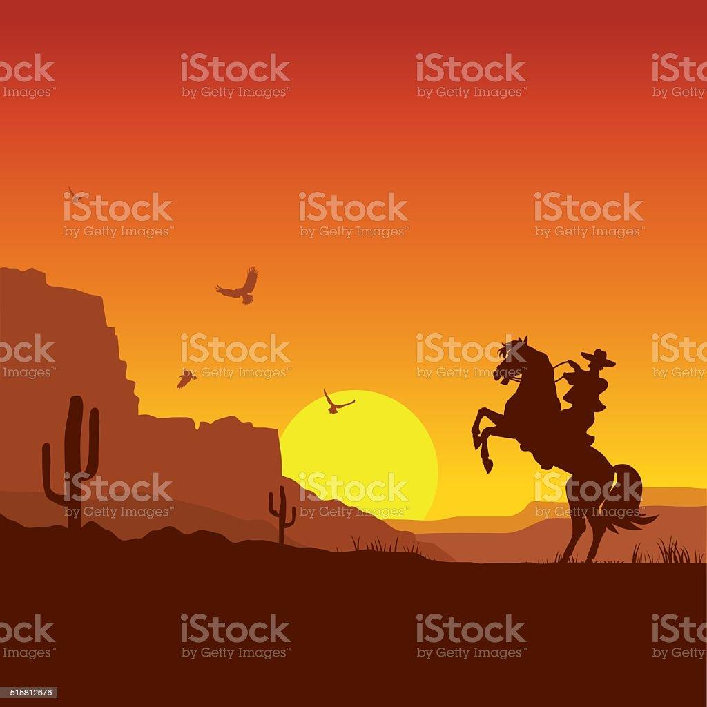 Wild west american desert landscape with cowboy on horse vector art illustration