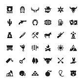 Wild West and Cowboy vector symbols and icons