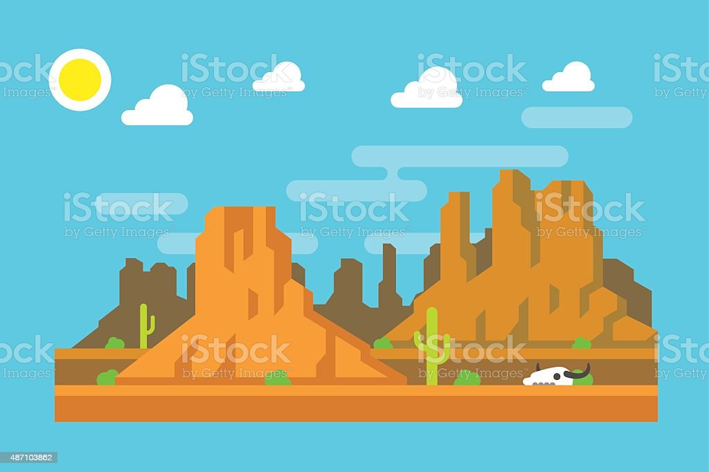 Wild west Arizona mountain flat design vector art illustration