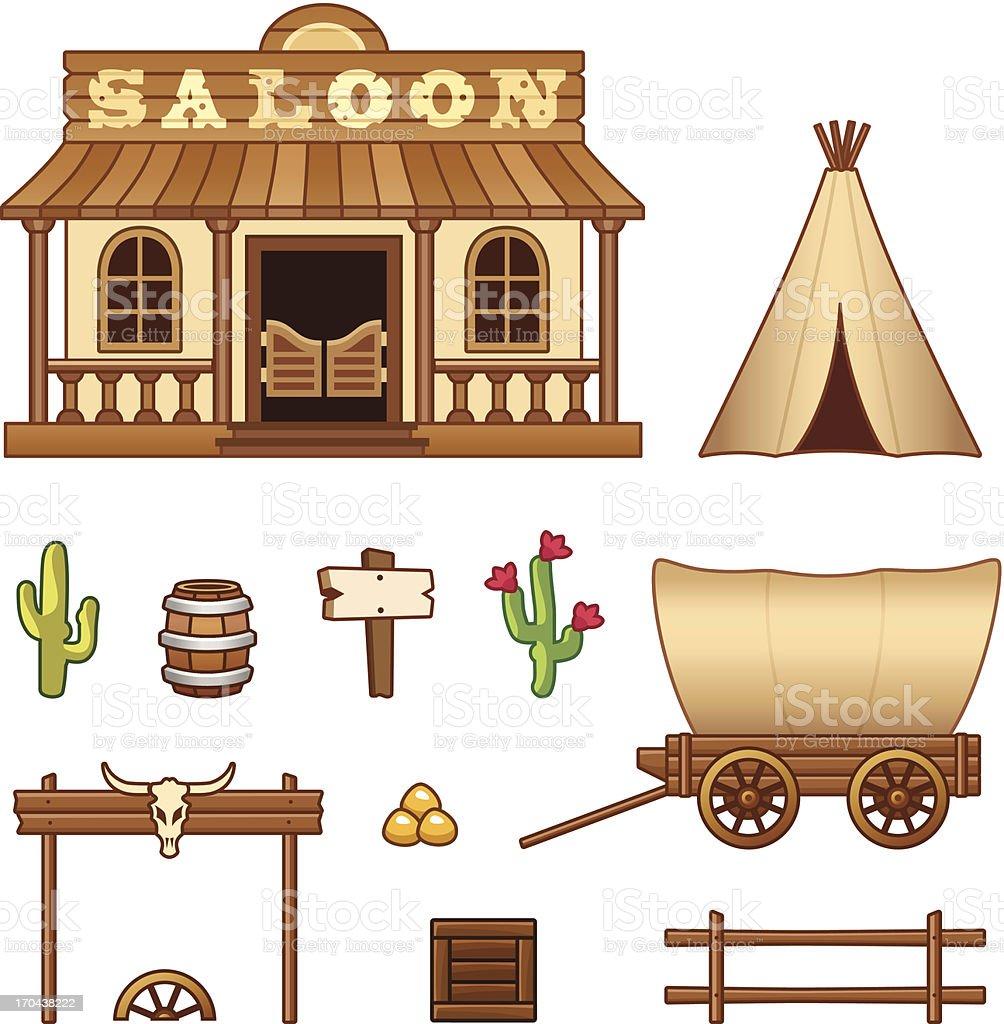 Wild West assets vector art illustration