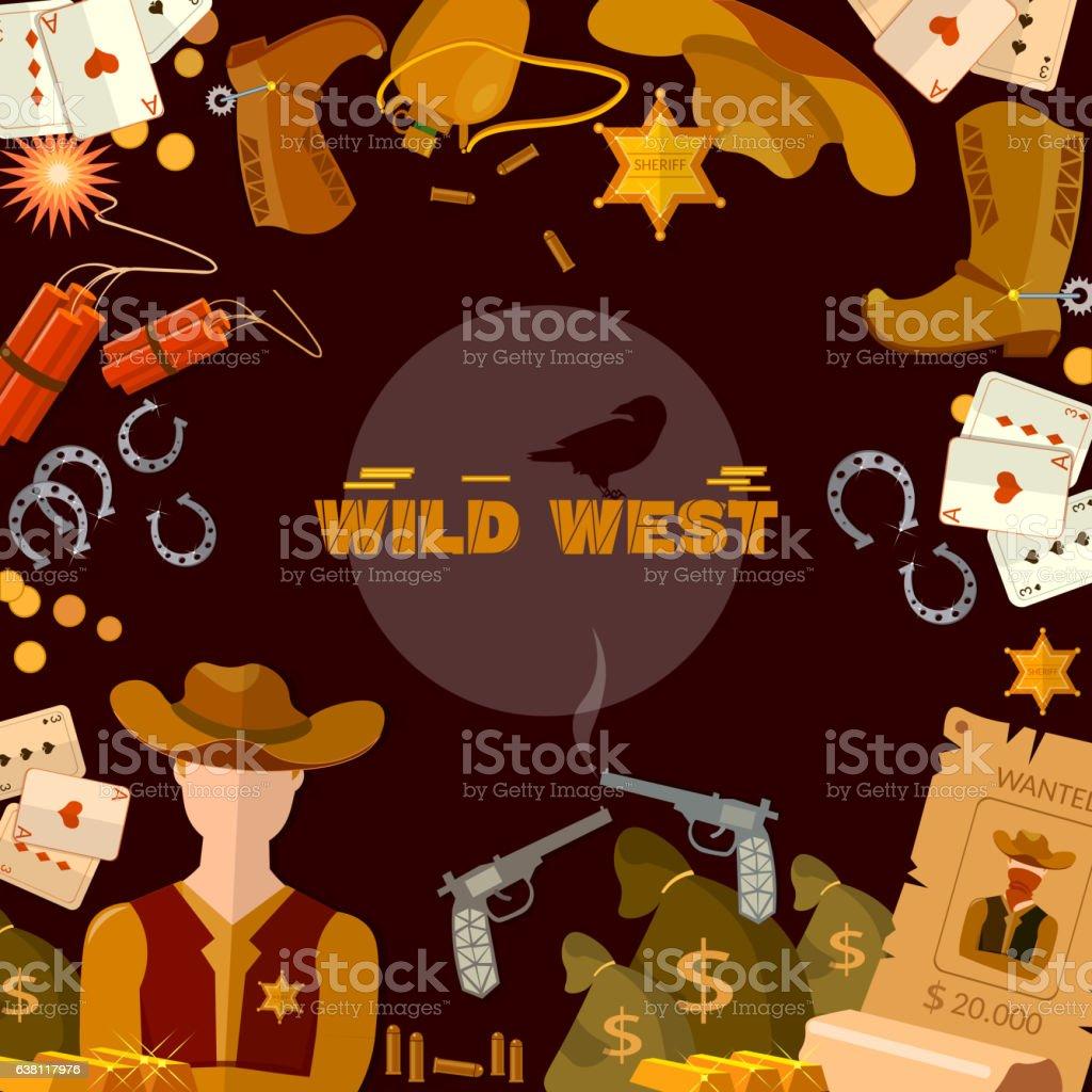Wild West background. Cowboy, sheriff, guns, money vector art illustration