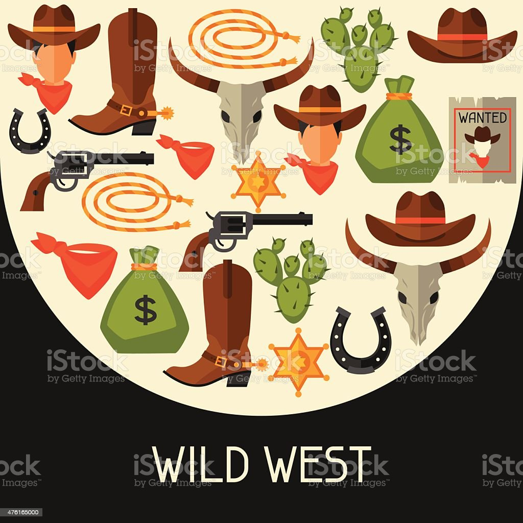 Wild west background with cowboy objects and design elements vector art illustration
