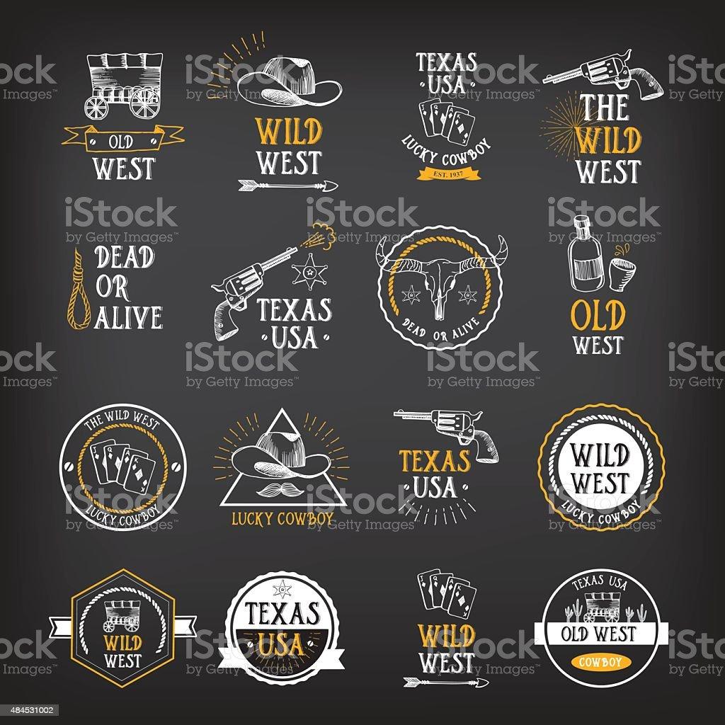 Wild west badges design. Vintage western elements. vector art illustration