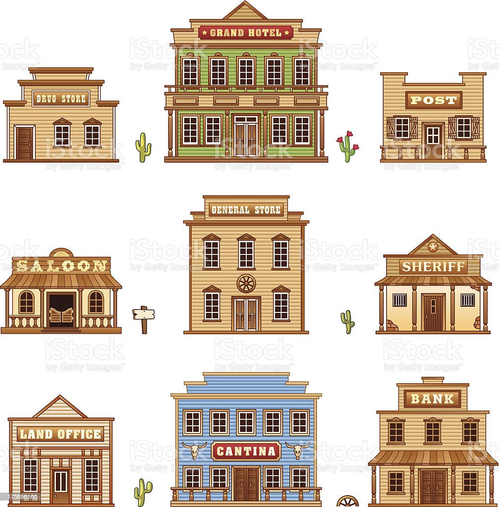 Wild West buildings vector art illustration