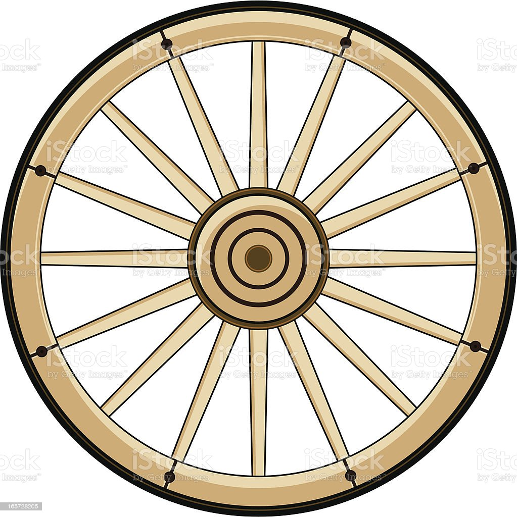 Wild West Chuck Wagon Wheel royalty-free stock vector art