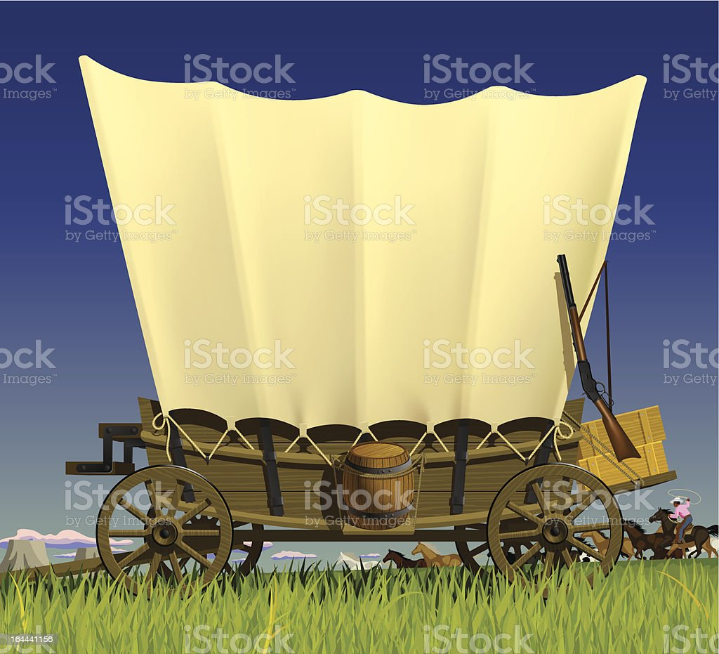 Wild West covered wagon vector art illustration