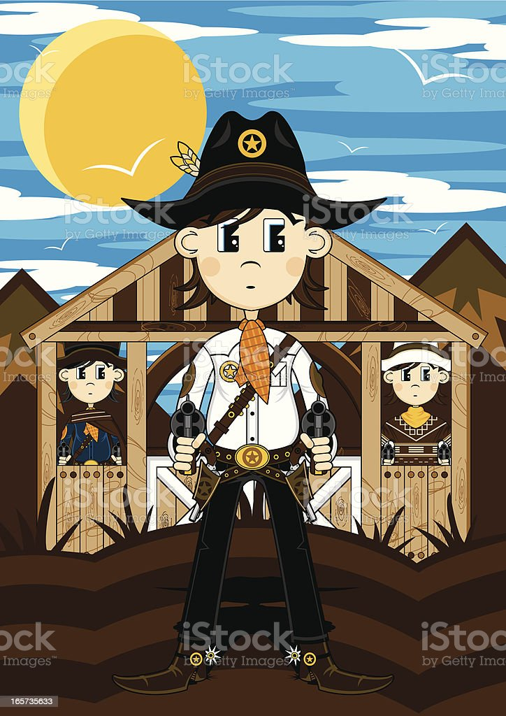 Wild West Cowboy Gunslingers royalty-free stock vector art