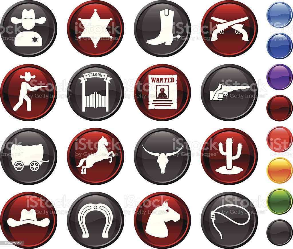 wild west cowboy royalty free vector icon set royalty-free stock vector art