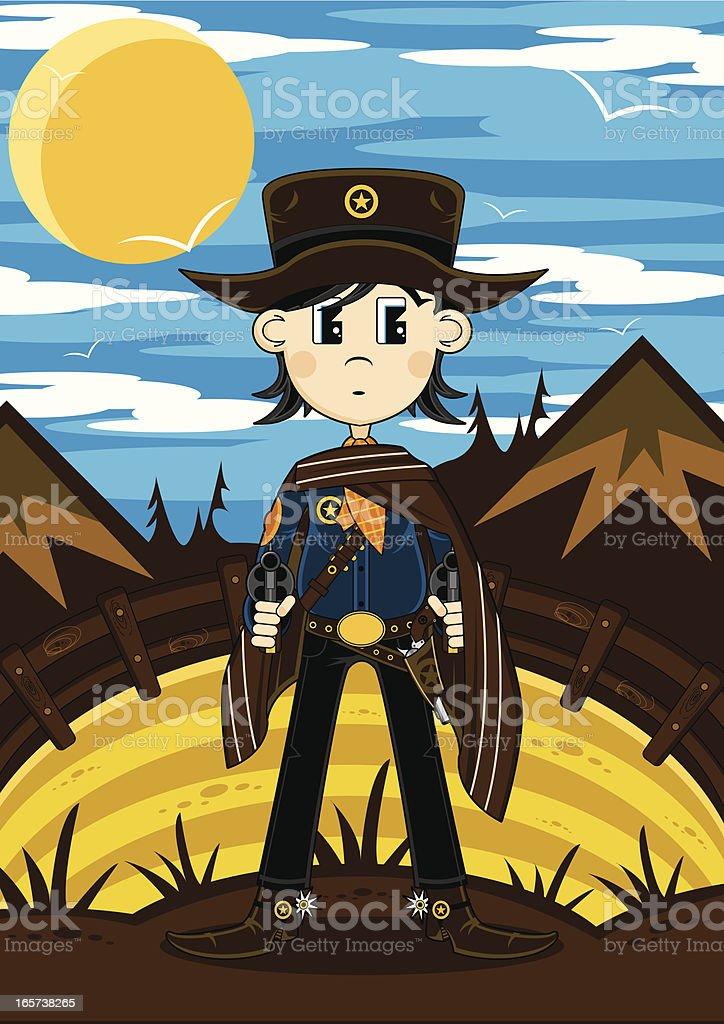Wild West Cowboy Scene royalty-free stock vector art