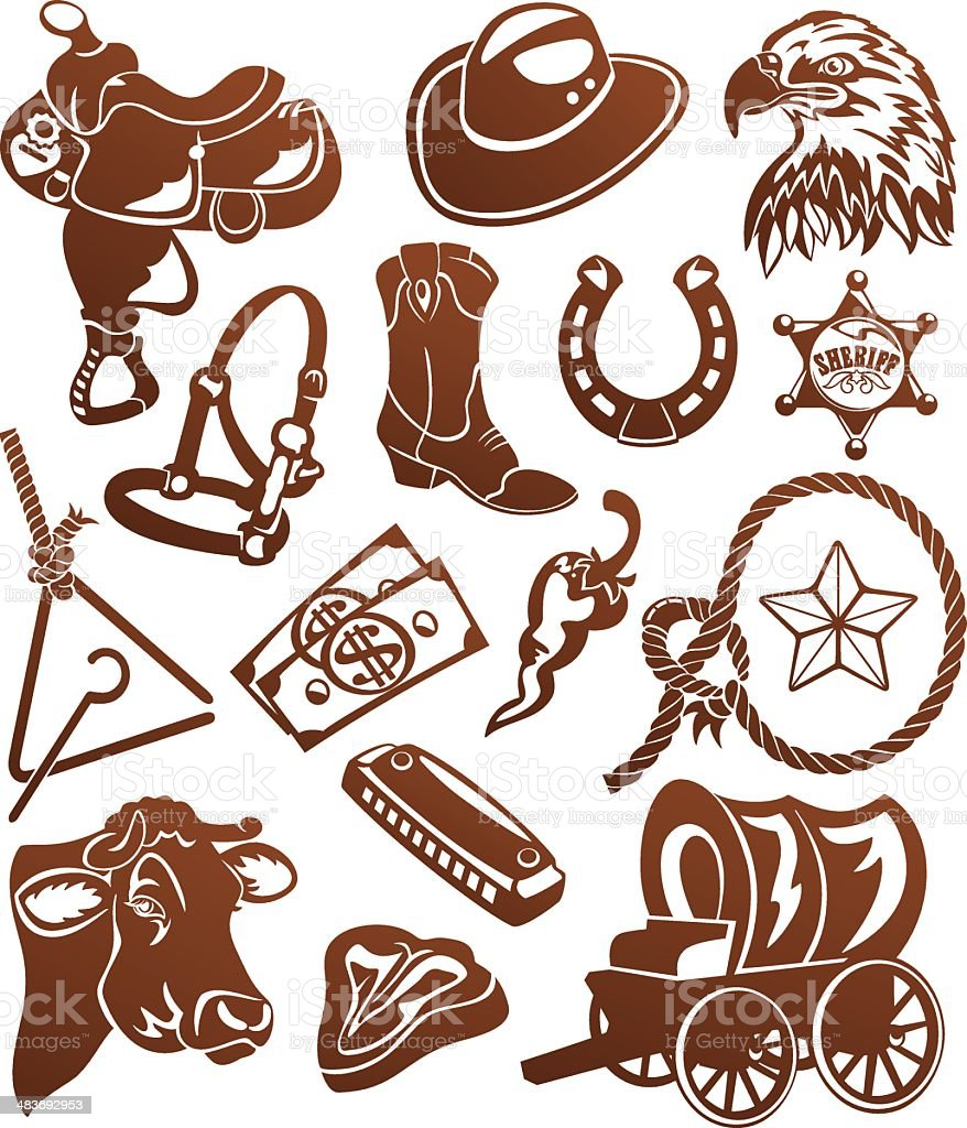 Wild West Cowboy Silhouettes vector art illustration