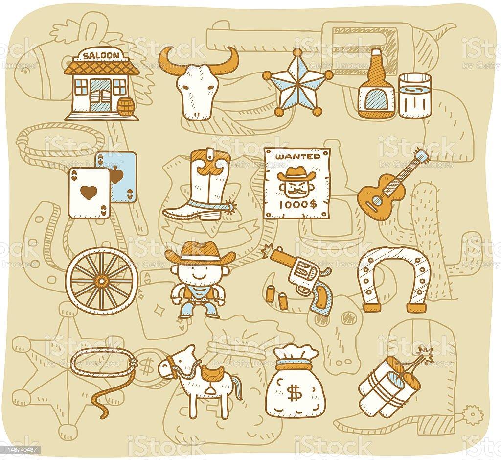 wild west cowboys icon set | Mocha Series vector art illustration