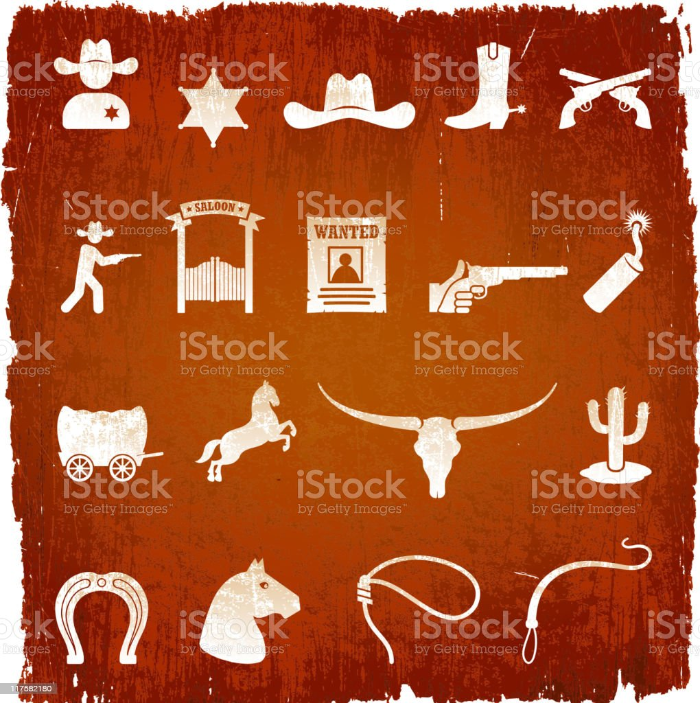 wild west cowboys on royalty free vector Background vector art illustration