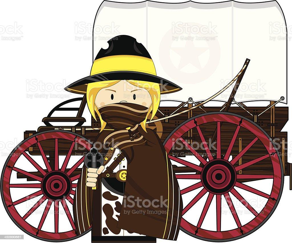 Wild West Cowgirl & Chuck Wagon vector art illustration