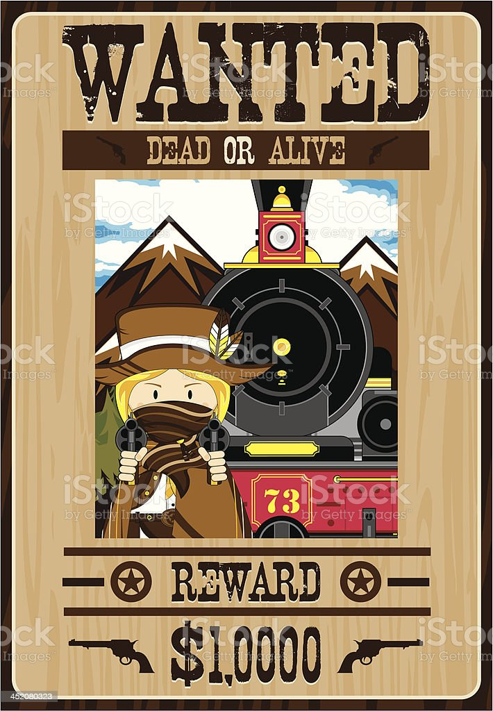 Wild West Cowgirl Outlaw Poster royalty-free stock vector art