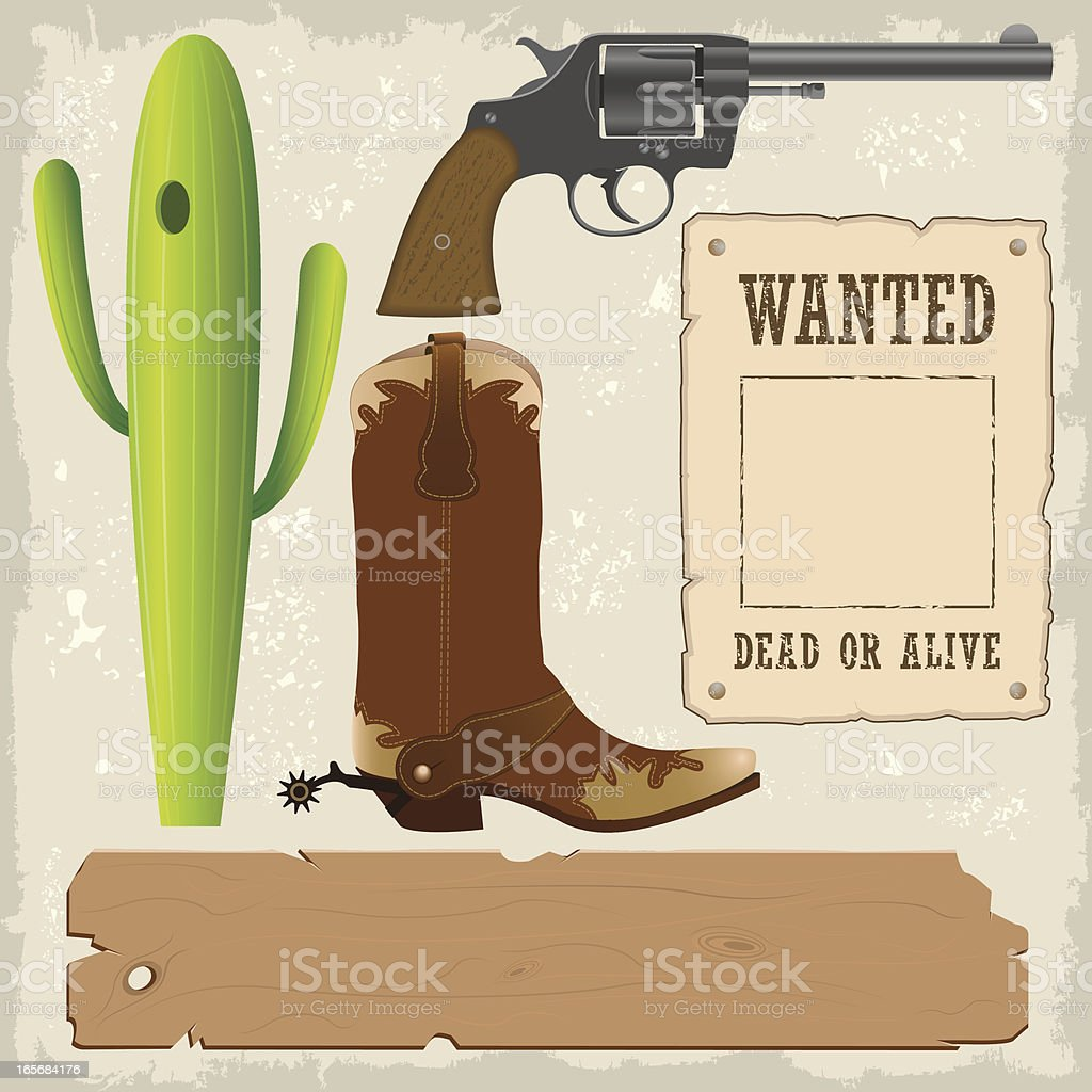 Wild West Design Elements vector art illustration