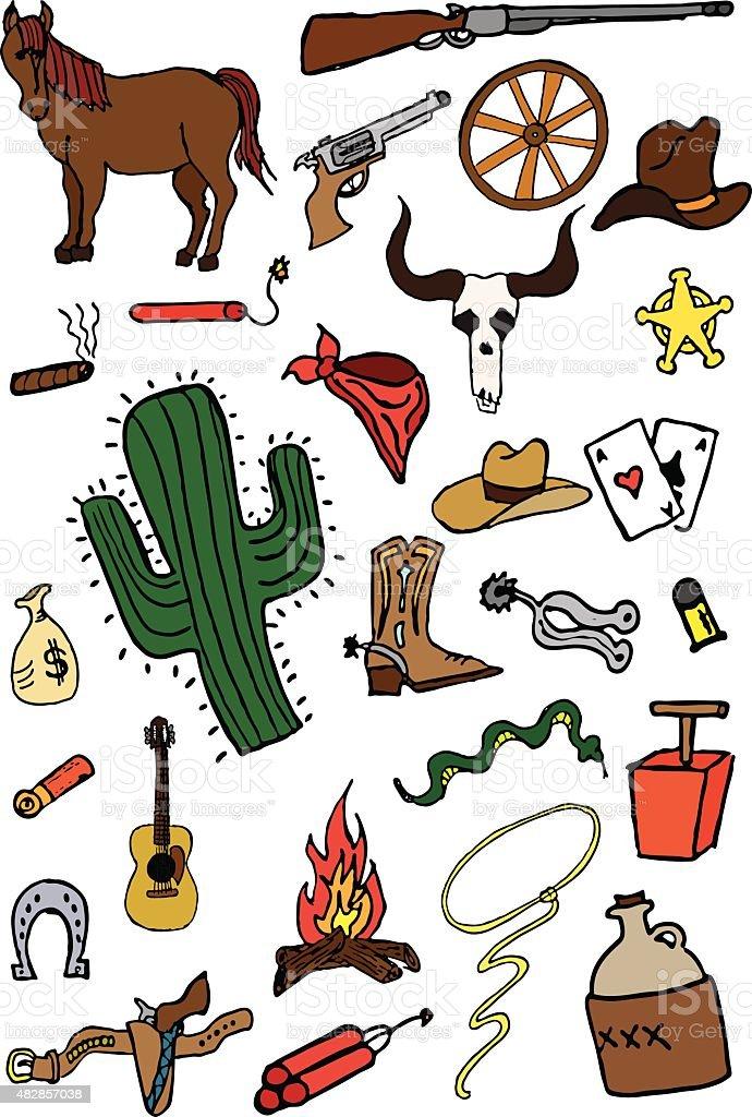 Wild West Doodles vector art illustration