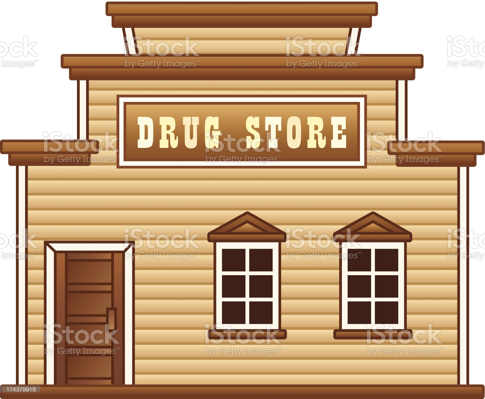 Wild West drug store royalty-free stock vector art