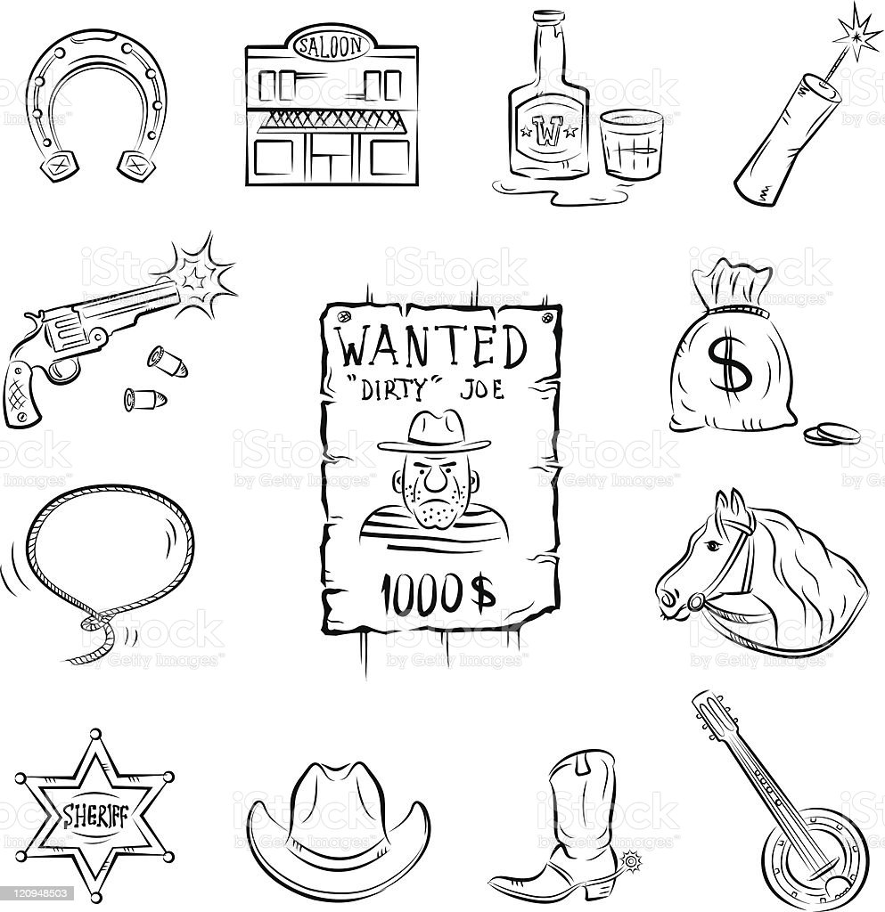 Wild West Icons royalty-free stock vector art
