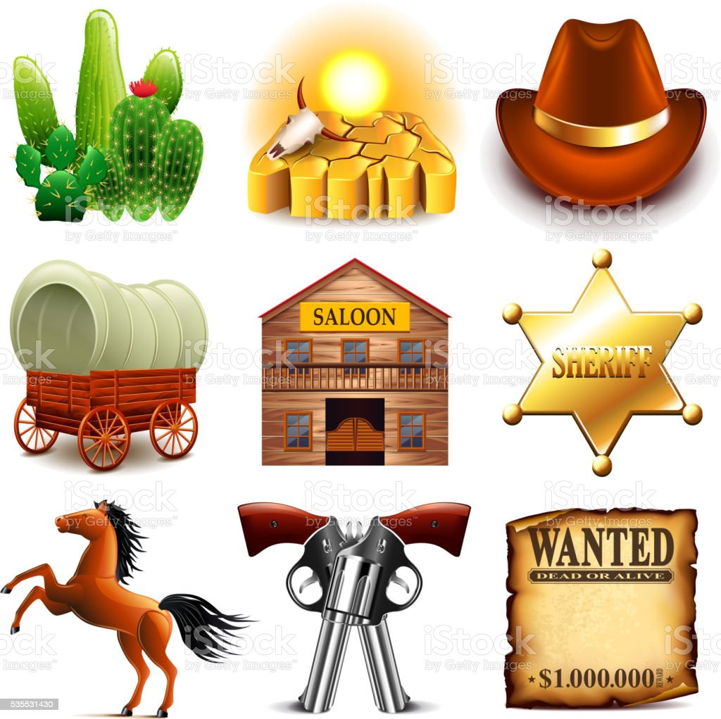 Wild west icons vector set vector art illustration
