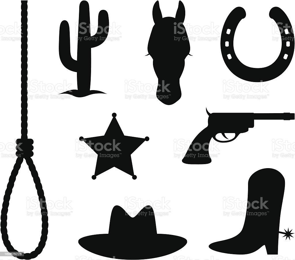 Wild west items vector art illustration
