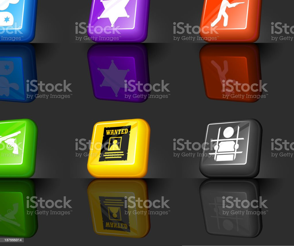 Wild West law and crime internet icon set royalty-free stock vector art