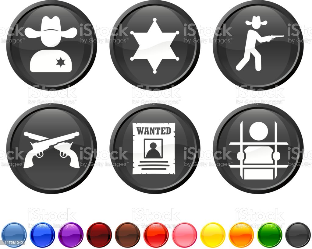 Wild West law and crime royalty free vector icon set royalty-free stock vector art