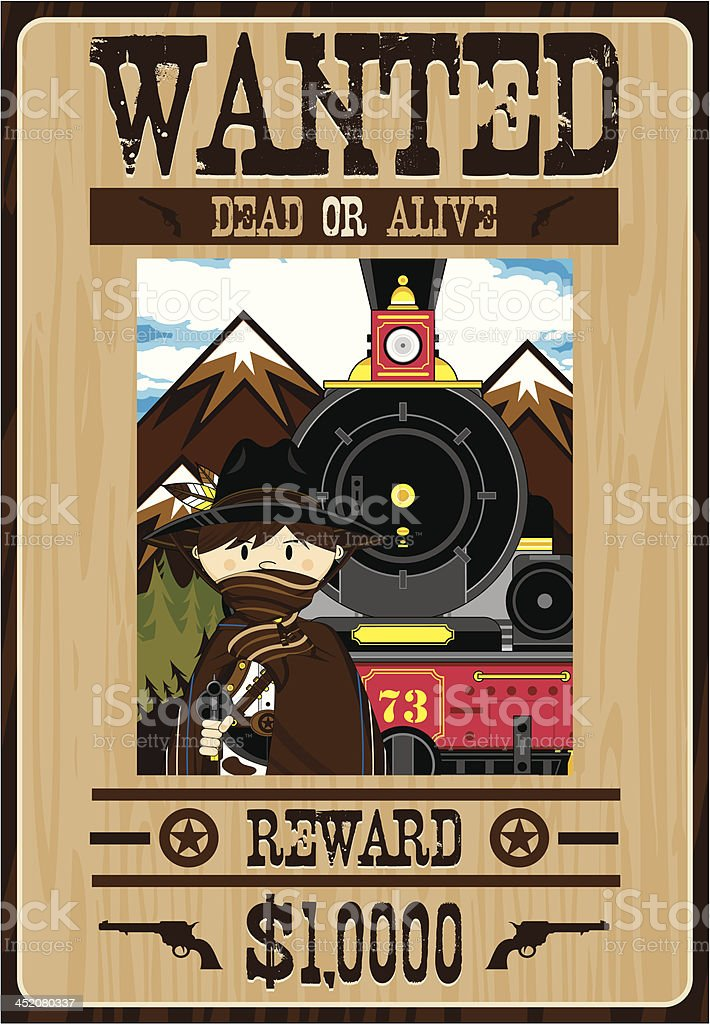 Wild West Outlaw Poster royalty-free stock vector art