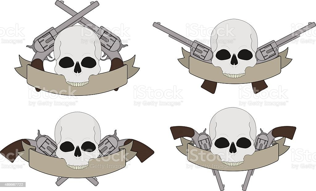 Wild west pistols and skull banners vector art illustration