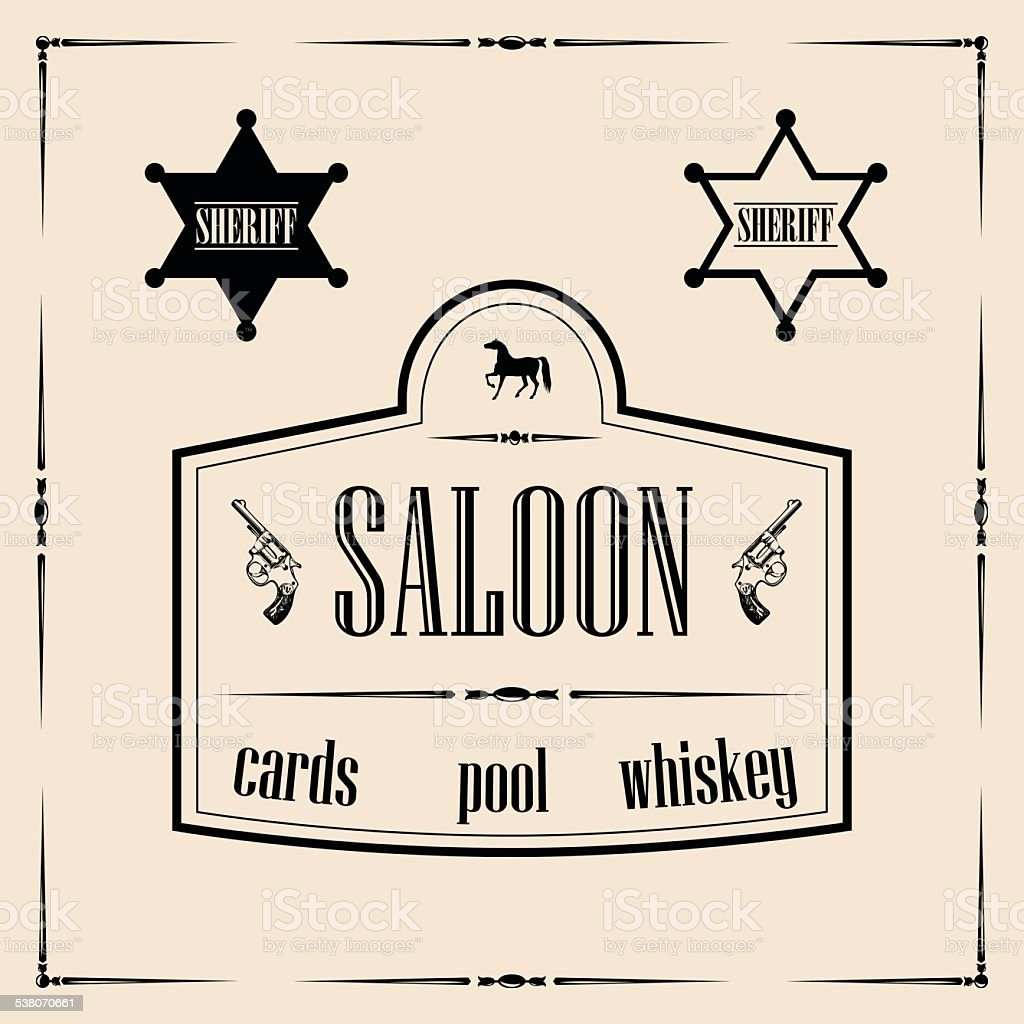 Wild west related illustrations - saloon sign with sheriff stars vector art illustration