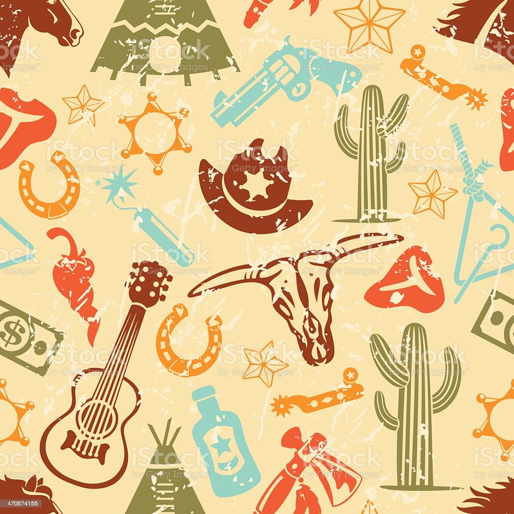 Wild West Silhouette Icons Seamless Pattern Tile Background vector art illustration