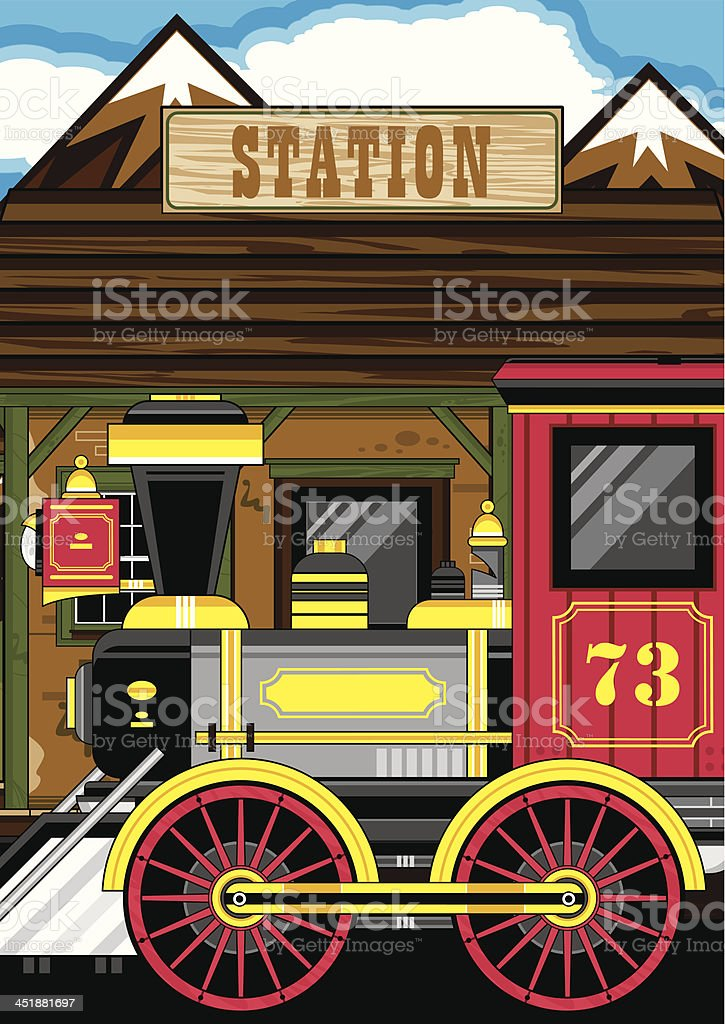 Wild West Style Train at Station royalty-free stock vector art