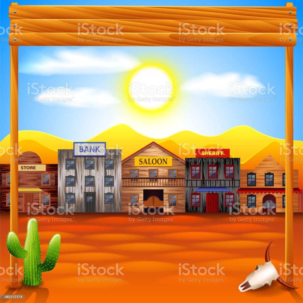 Wild west town panorama vector background vector art illustration