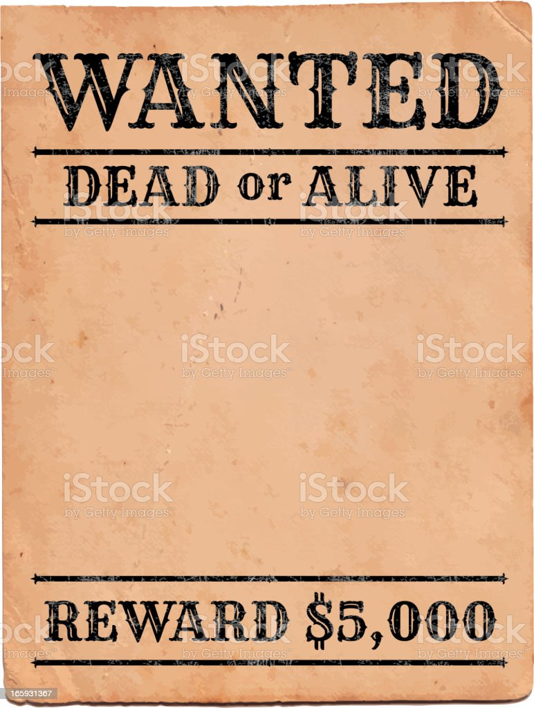 Wild West Wanted Sign royalty free vector Background royalty-free stock vector art