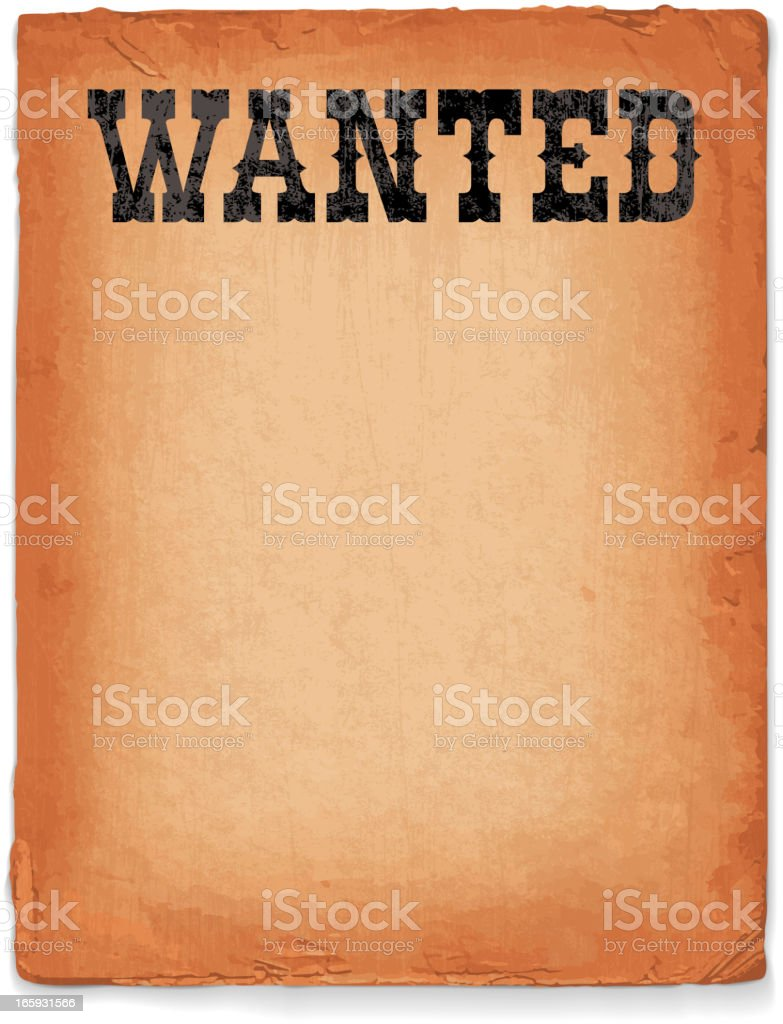 Wild West Wanted Sign royalty free vector Background vector art illustration
