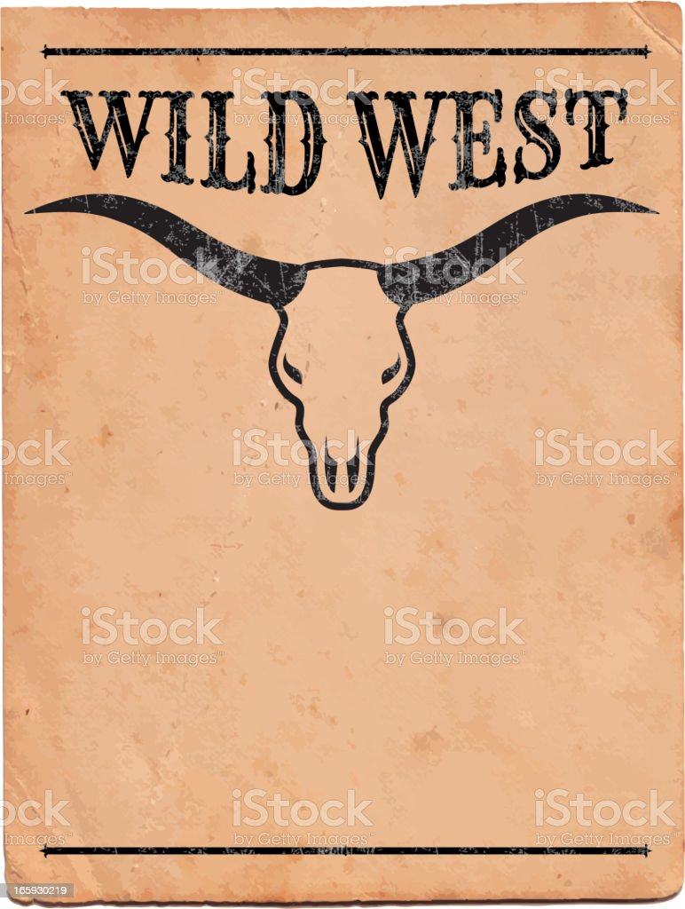 Wild West with Bull Sign royalty free vector Background royalty-free stock vector art