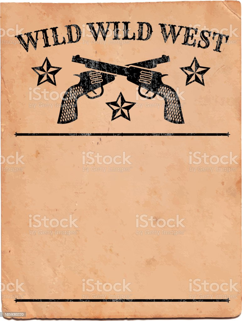 Wild West with Pistols Sign royalty free vector Background royalty-free stock vector art
