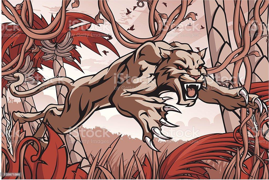 Wildcat Attack vector art illustration