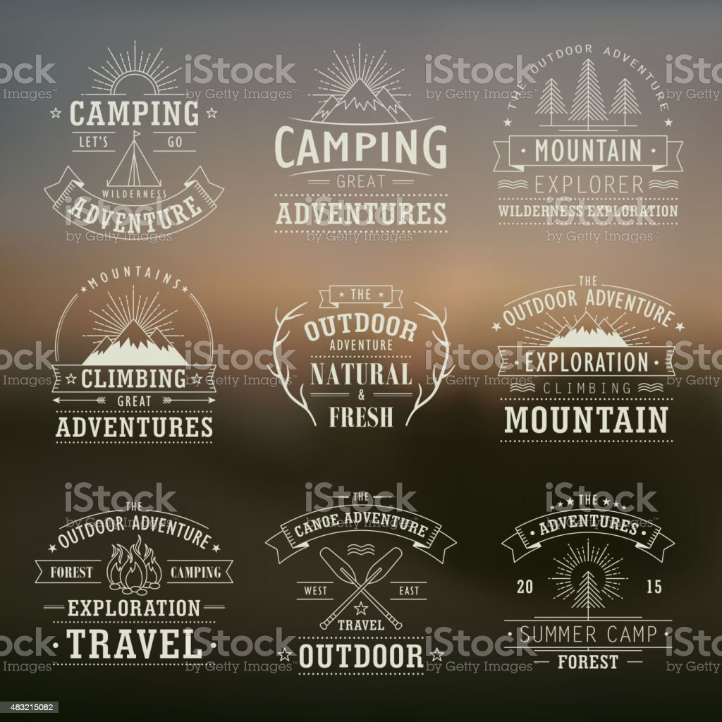 wilderness and nature exploration emblems vector art illustration