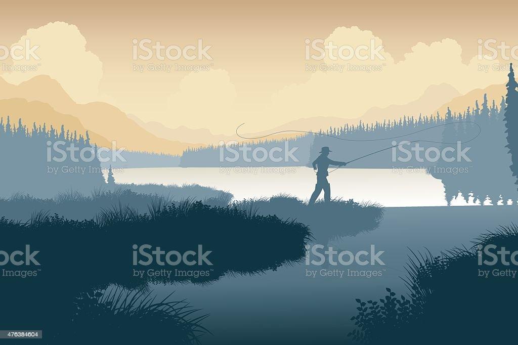 Wilderness angler vector art illustration