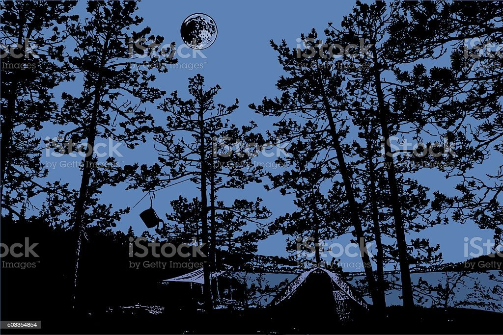Wilderness Campsite At Night With Full Moon vector art illustration