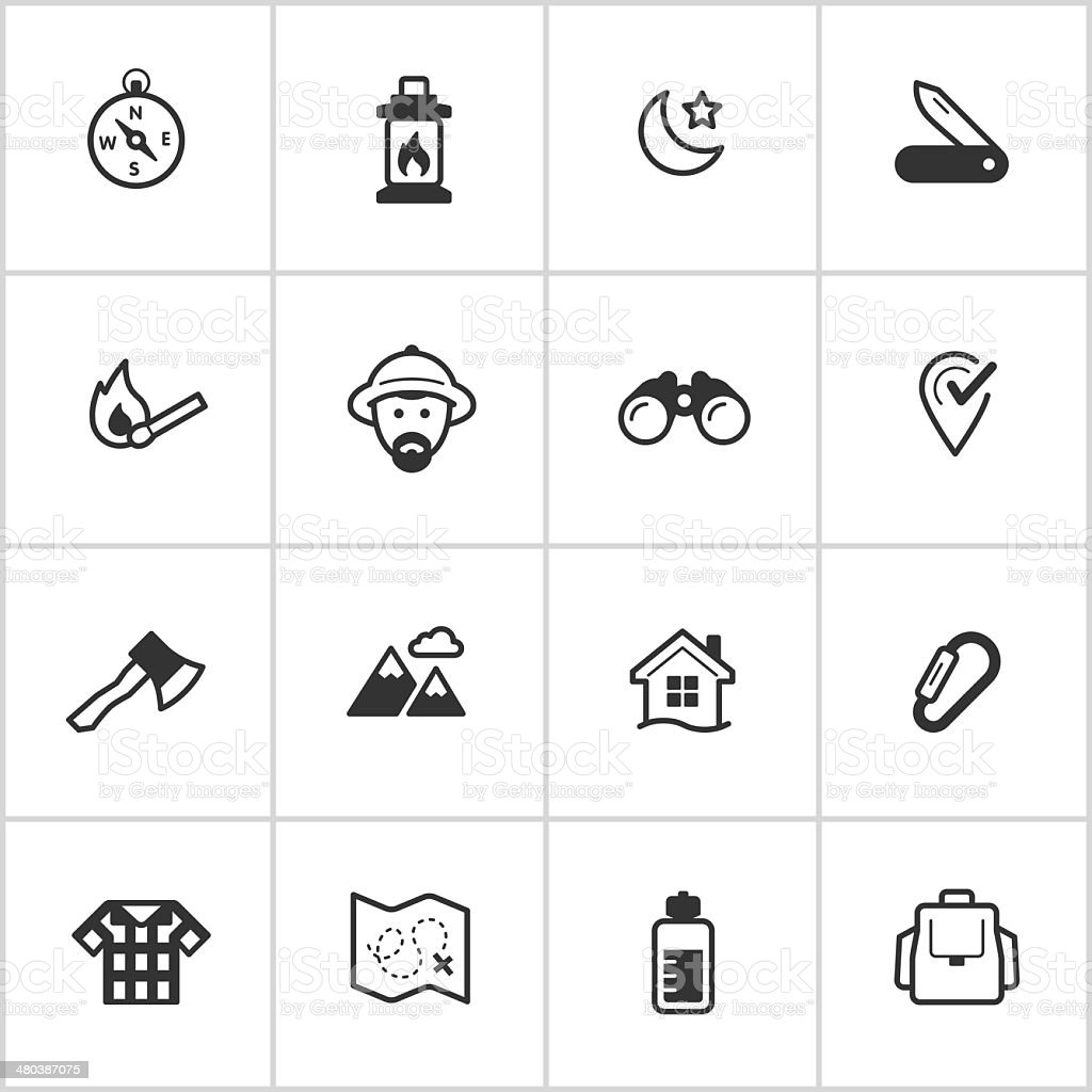 Wilderness & Exploration Icons — Inky Series vector art illustration