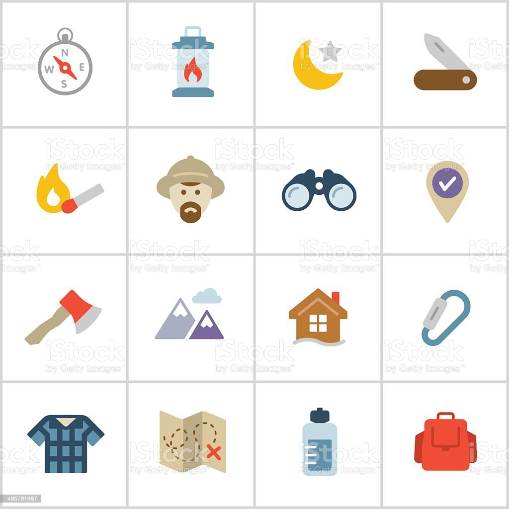 Wilderness & Exploration Icons — Poly Series vector art illustration