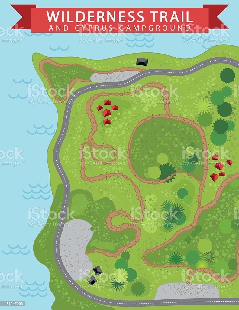 Wilderness Hiking Trail Map vector art illustration