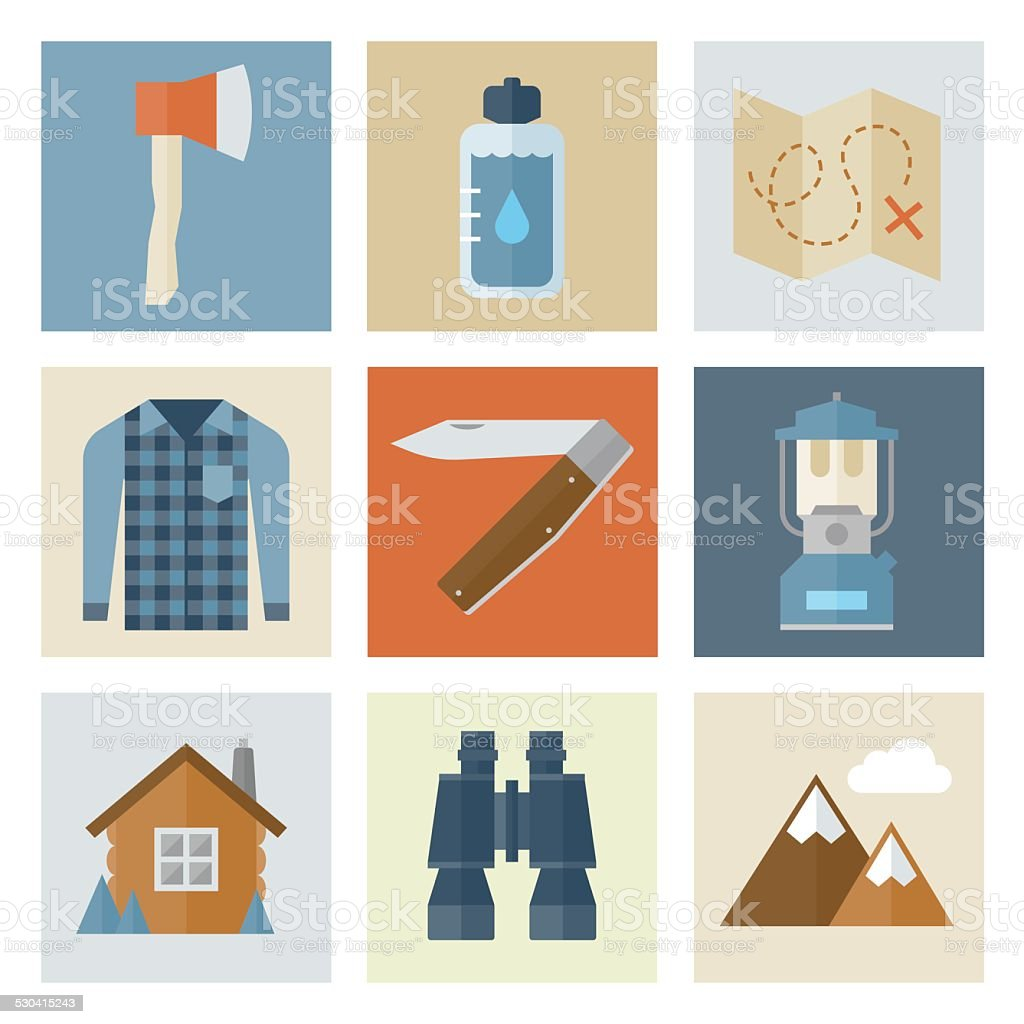 Wilderness Icons — Flat Series vector art illustration