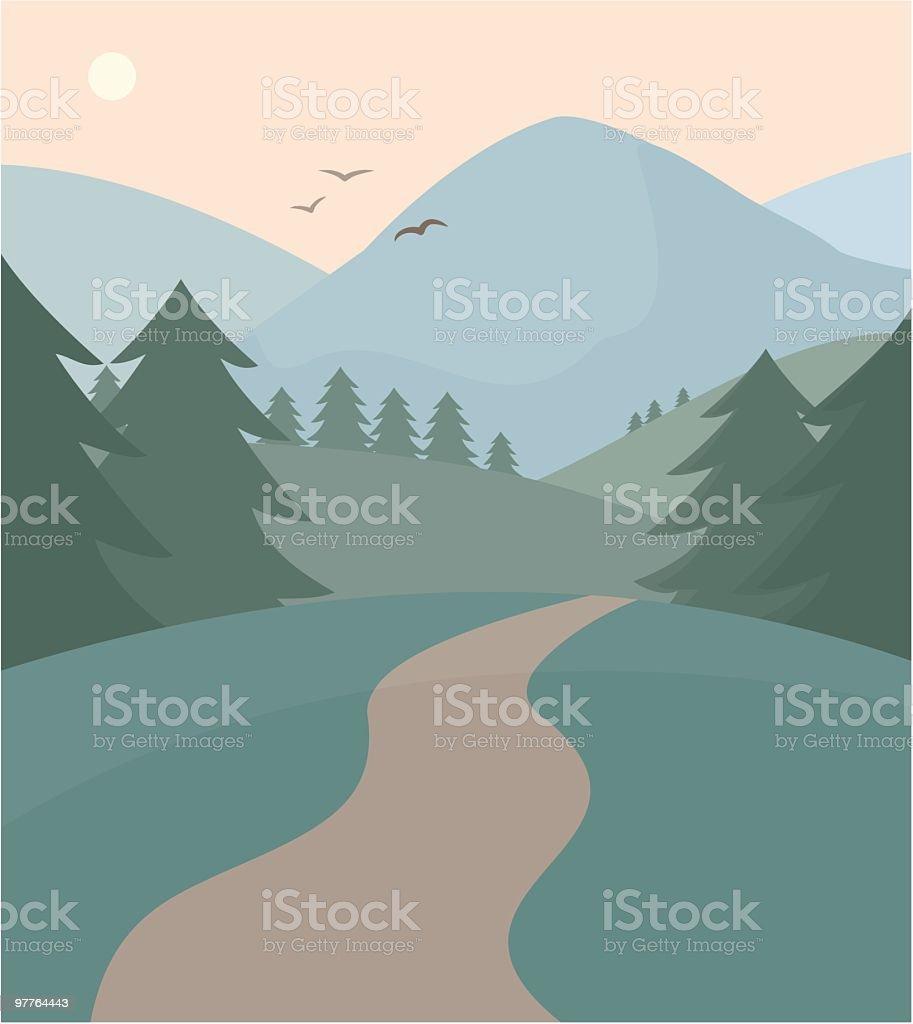 Wilderness Trail vector art illustration