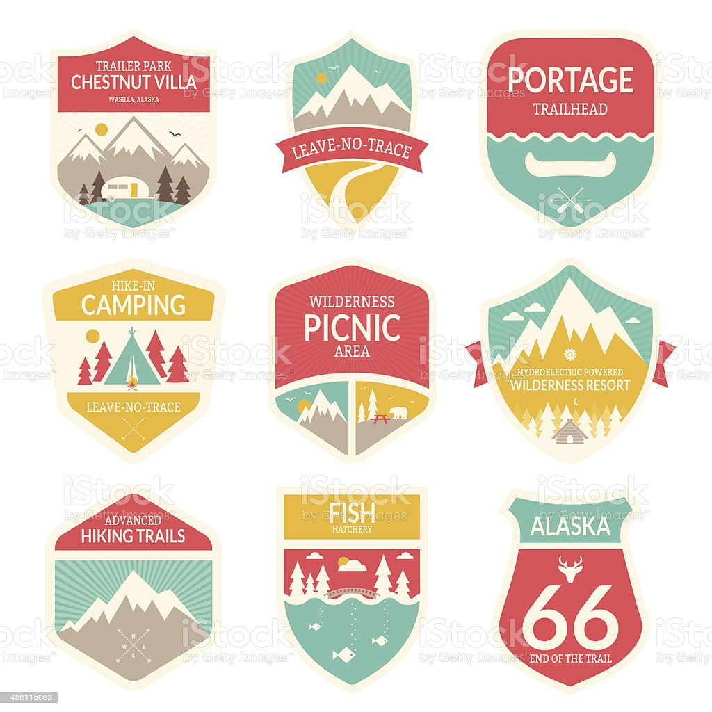 Wilderness Travel Badges vector art illustration