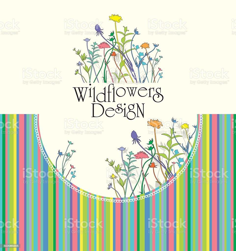Wildflowers Design. vector art illustration