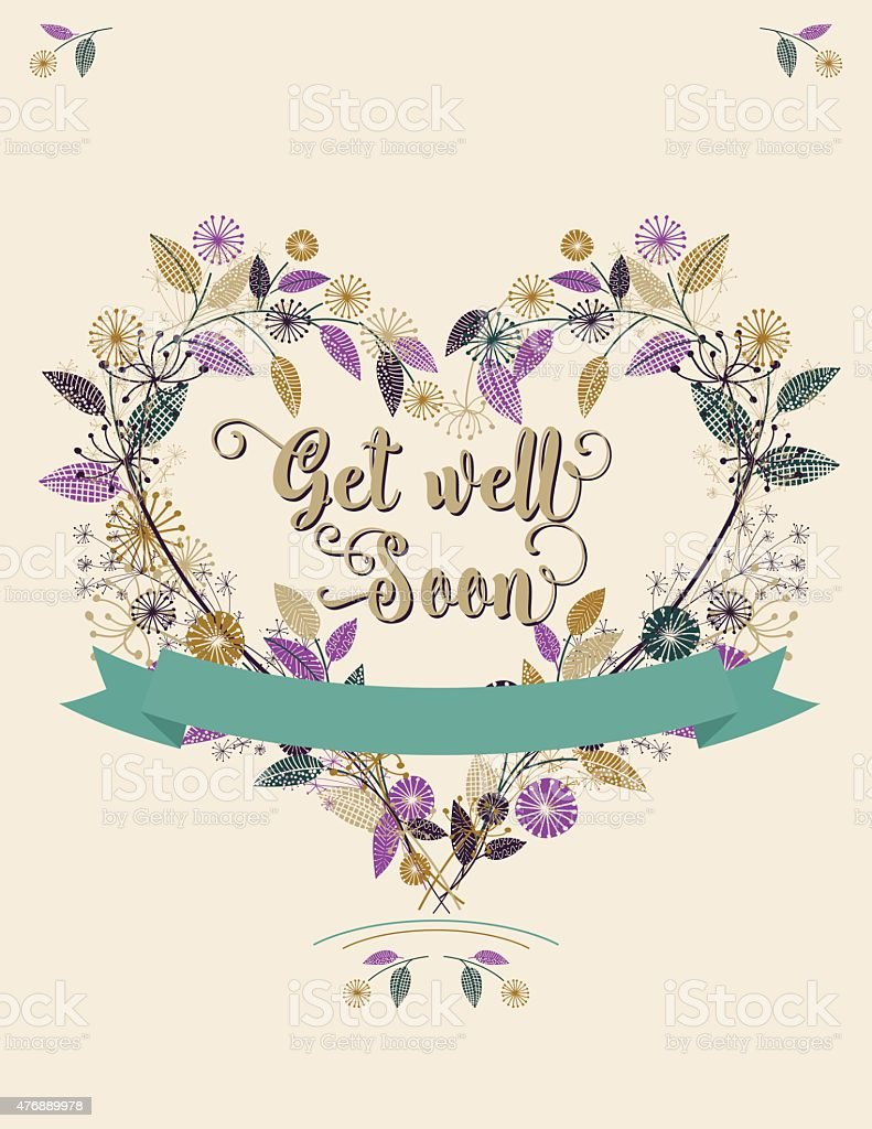 Wildflowers Floral  Get Well Soon Card vector art illustration