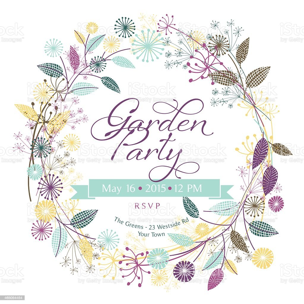Wildflowers Garden Wreath Garden Party Template vector art illustration